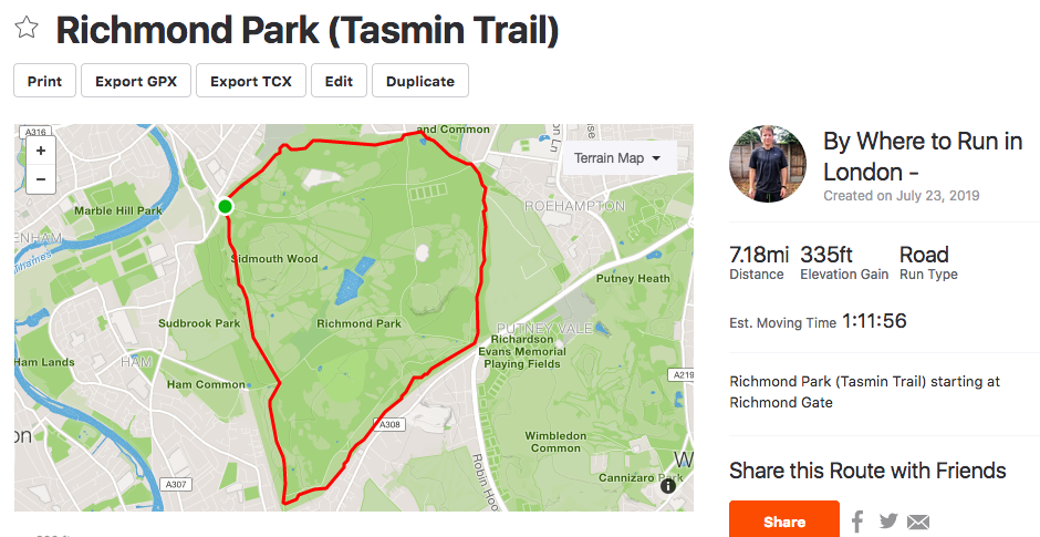Richmond Park Tamsin Trail Route